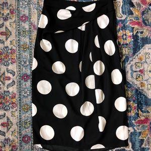 Ann Taylor twist front black&white polka dot skirt
